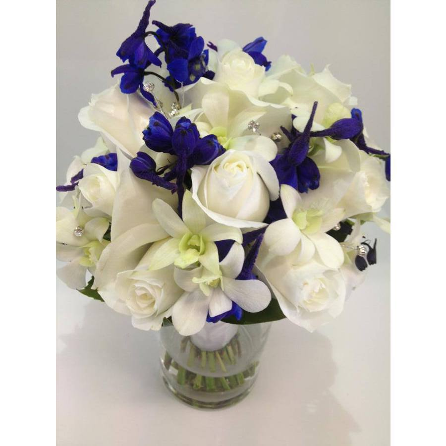 White Rose, Orchid and Deep Blue Delphinium Posy with Diamantes - Image 1