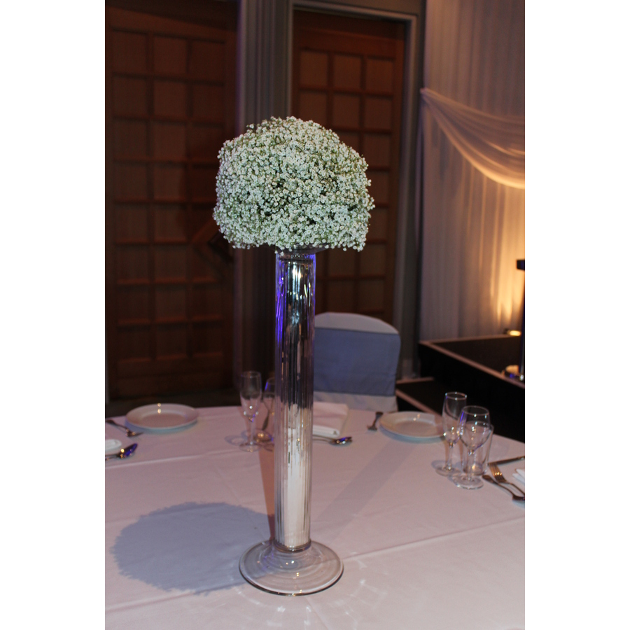 Gypsophila Dome Arranged on a Silver Stand - Image 1