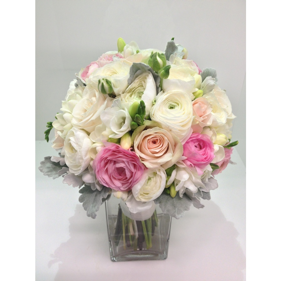 Ranuncula, freesia, rose and dusty miller posy in whites and pinks - Image 1