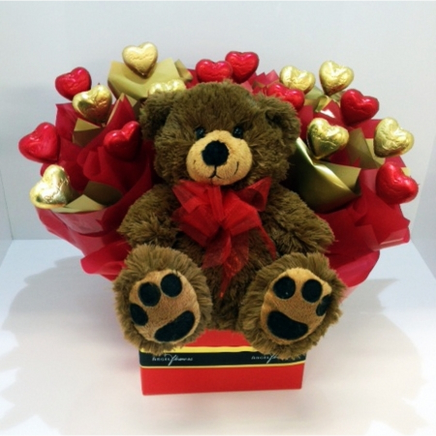 Box Of Love With A Teddy 5500 Chocolate Bouquets