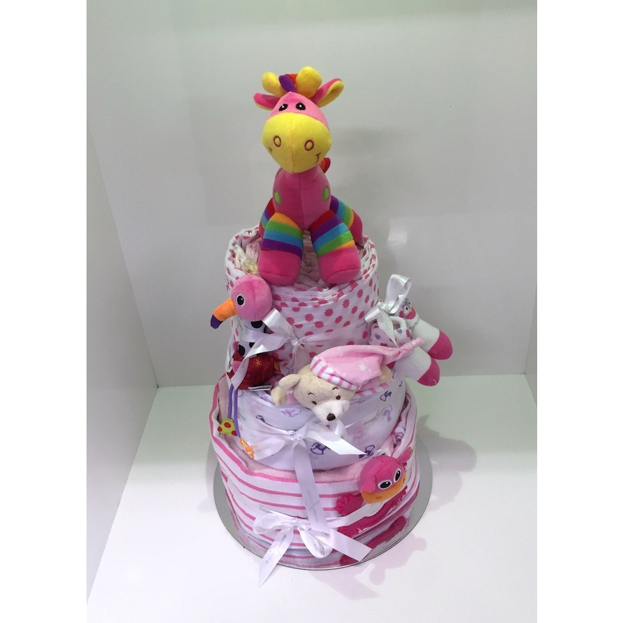 Pink Three Tier Nappy Cake - Image 1