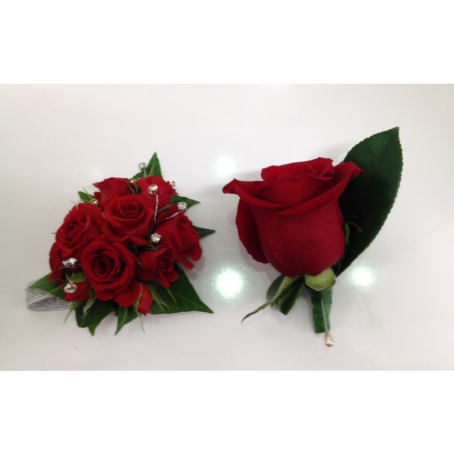 Red Rose Corsage and Matching Buttonhole - Image 1