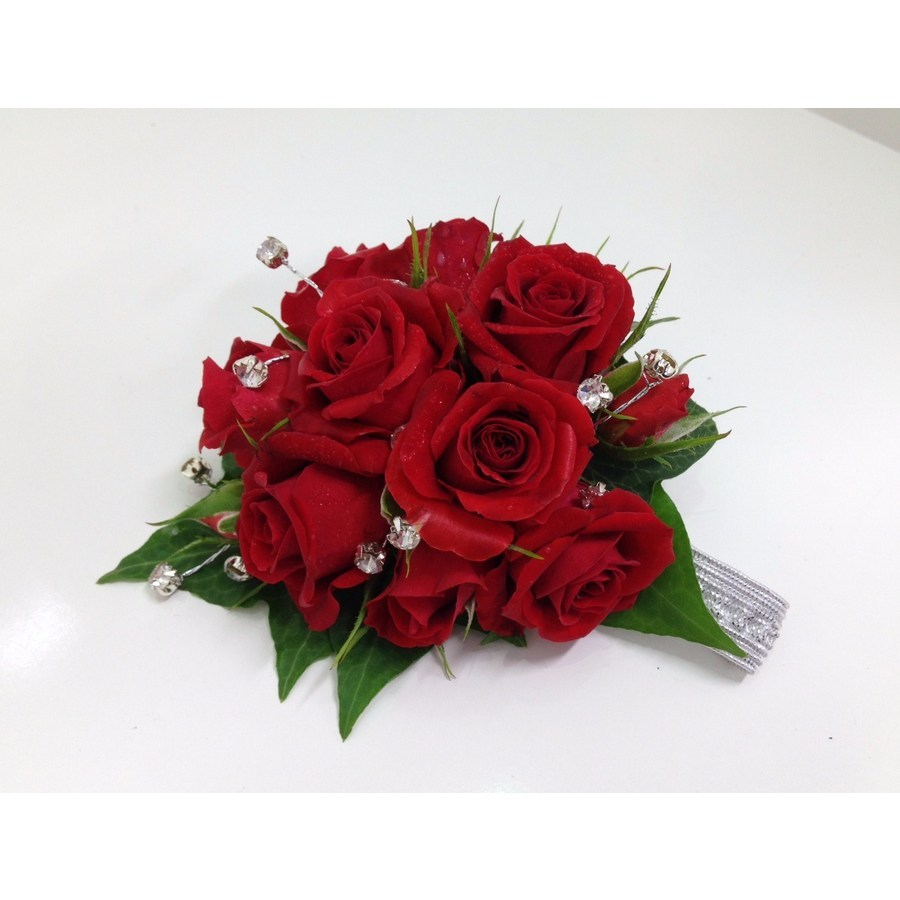 Red Spray Rose Diamante Wrist Corsage - Image 1