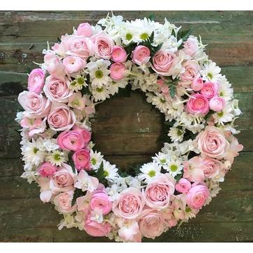 more on Round Wreath of Whites and Pinks