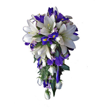 more on White and blue teardrop of asiatic lillies,  roses, iris & hyacinths.