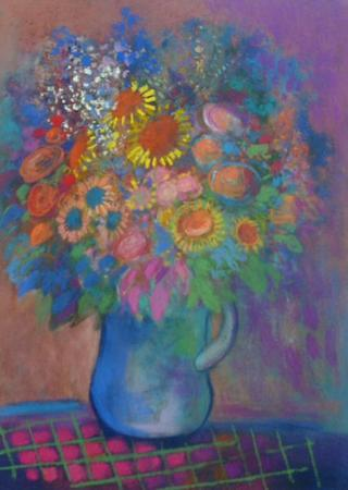 Spring Flowers in a Blue Jug - Image 1