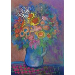more on Spring Flowers in a Blue Jug