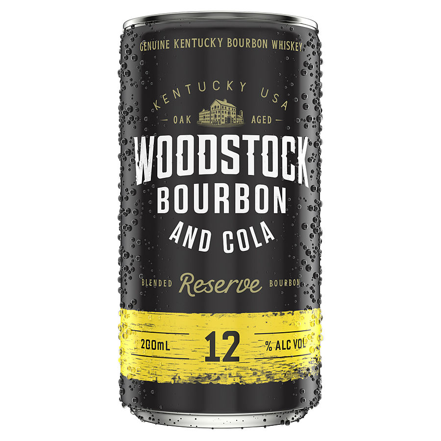 Woodstock Bourbon And Cola 12% 200ml Can - Image 1
