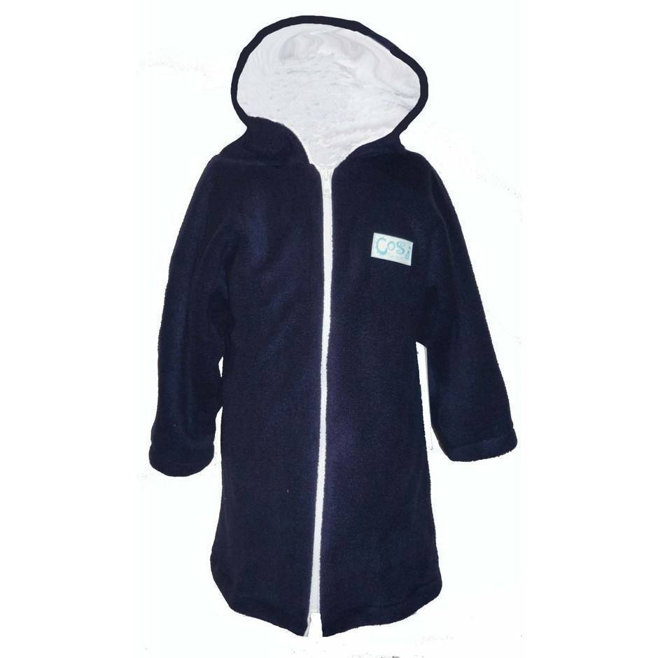 Boys Towelling Robe - Navy and white - Image 1