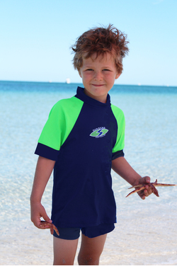 more on Boys Rash shirts - Navy with Lime Sleeves