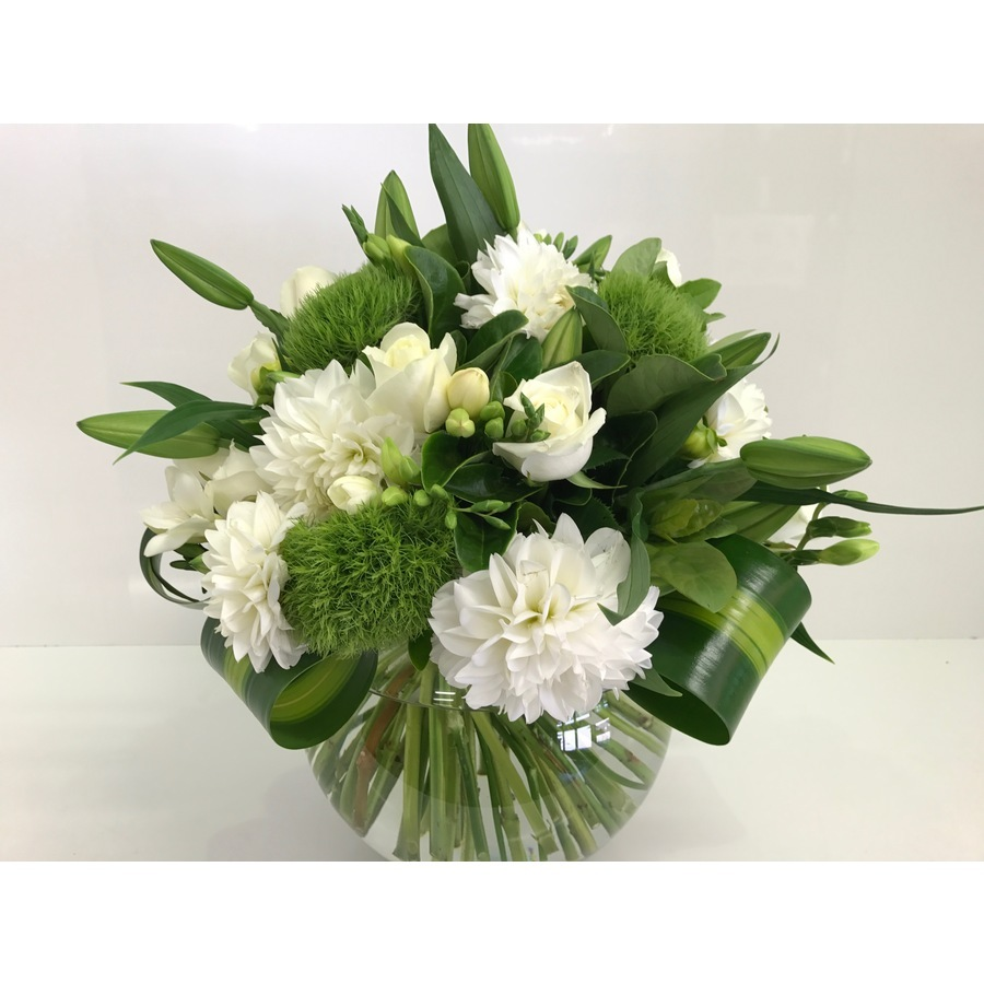 White Fish Bowl Arrangement - Image 2