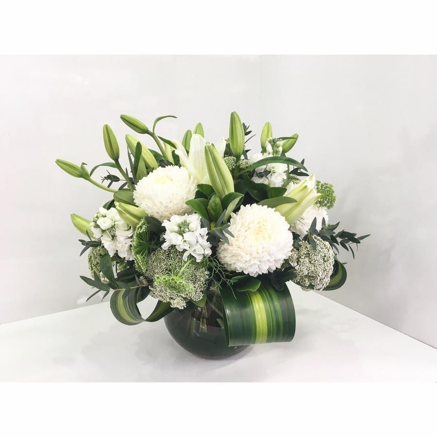 White Fish Bowl Arrangement - Image 1