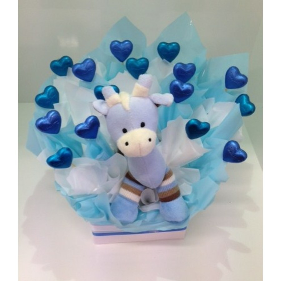 Blue Giraffe Chocolate Bouquet - Image 2