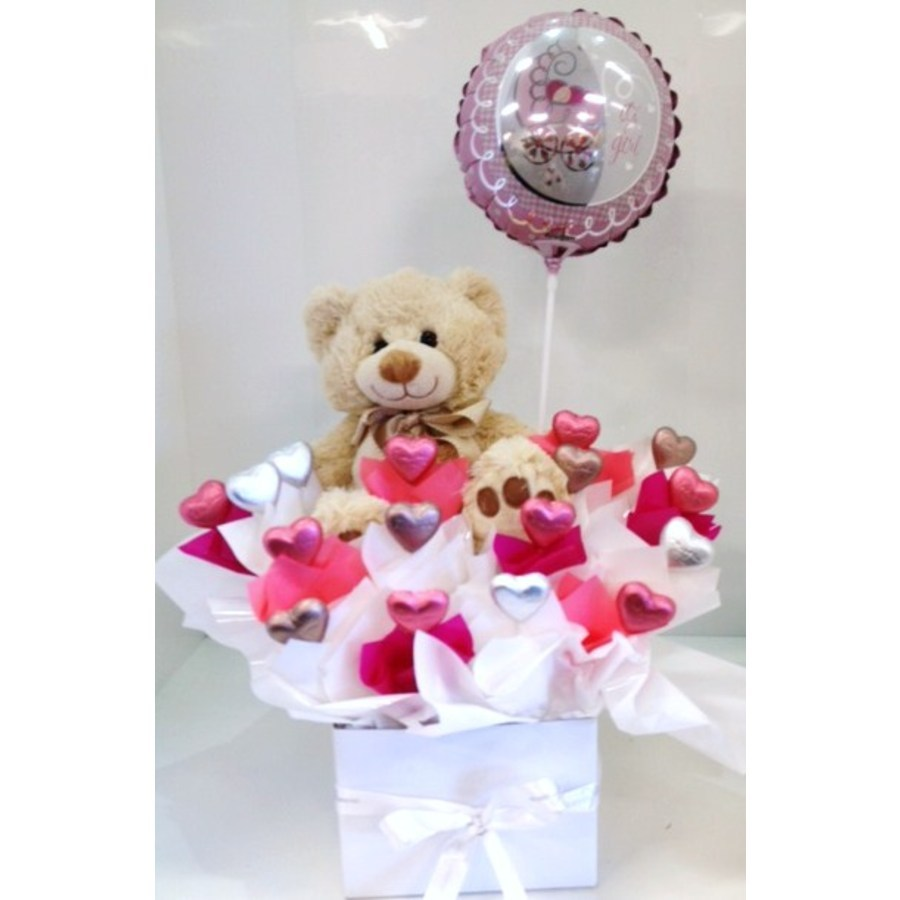 Deluxe Baby Girl Chocolate Bouquet with Teddy and Stick Balloon - Image 1