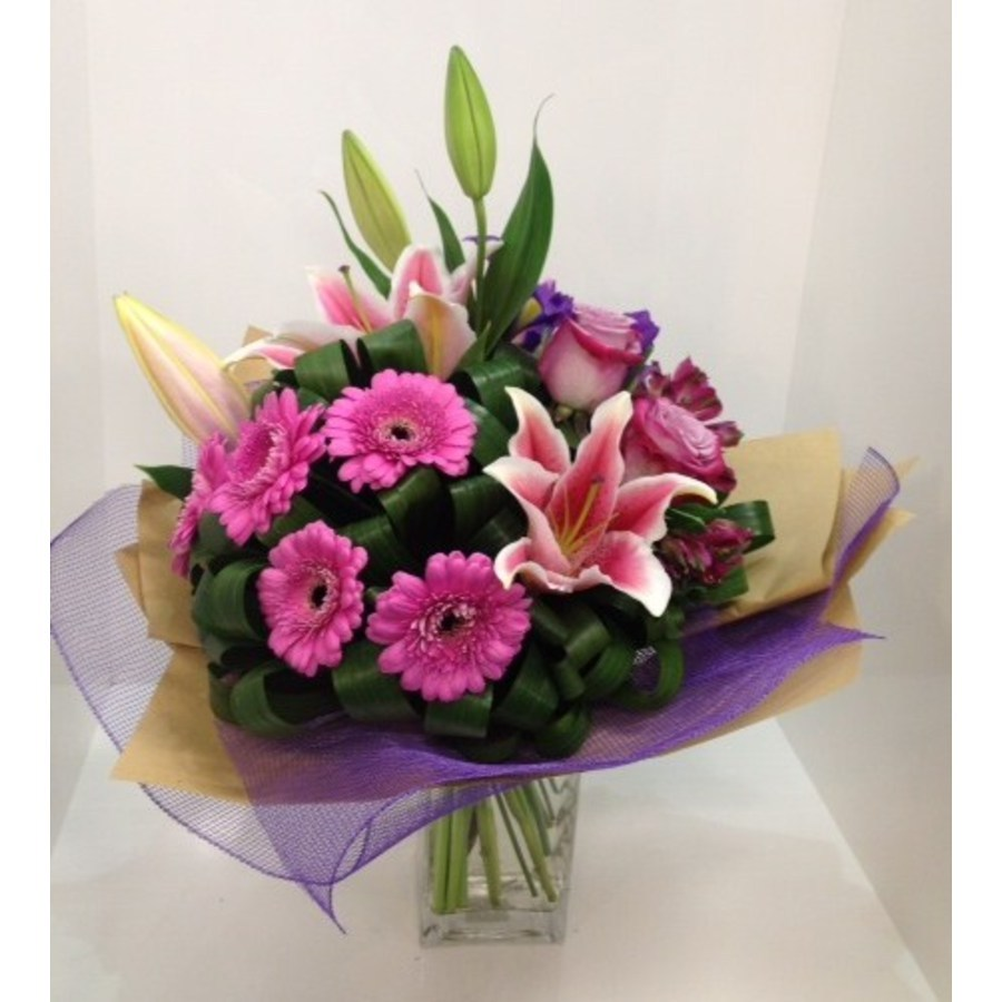 Pink and Purple Grouped Bouquet - Image 1