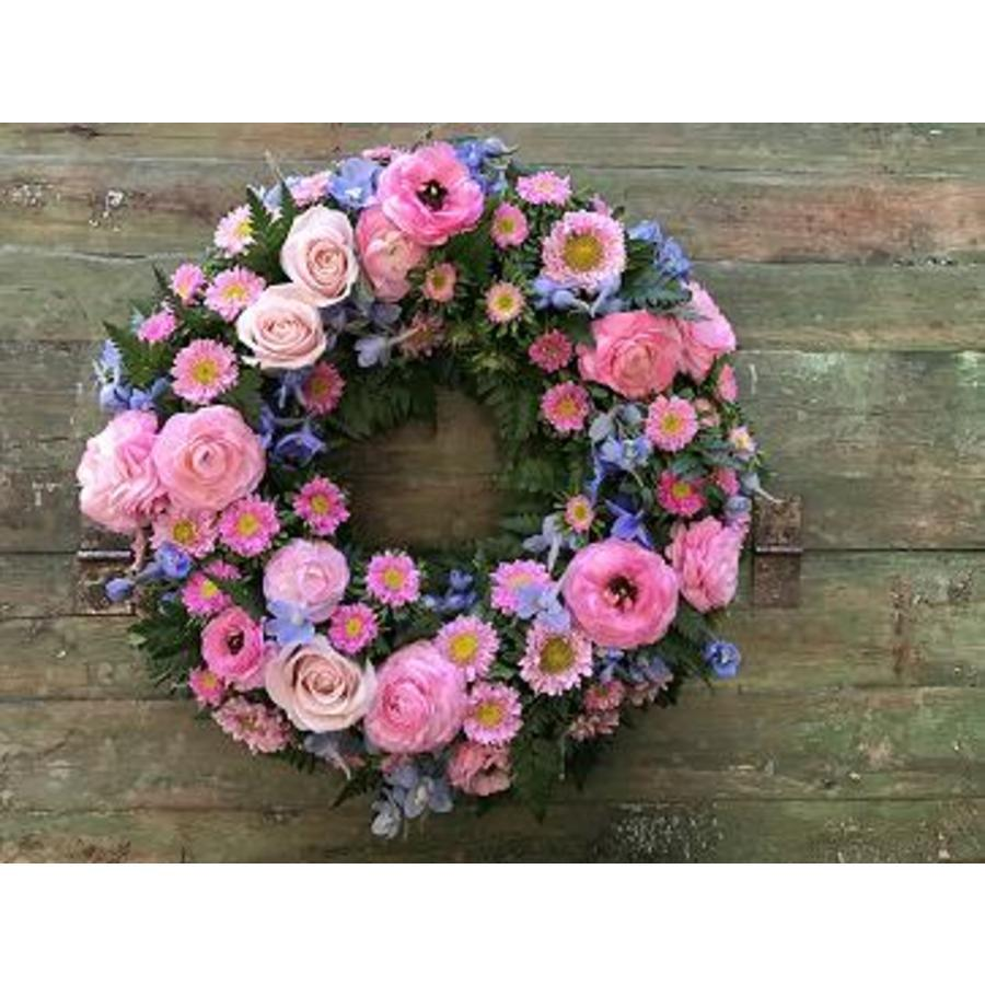 Round Wreath Pink and Blue - Image 1