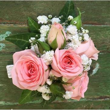 more on Pink spray rose and gyp wrist corsage