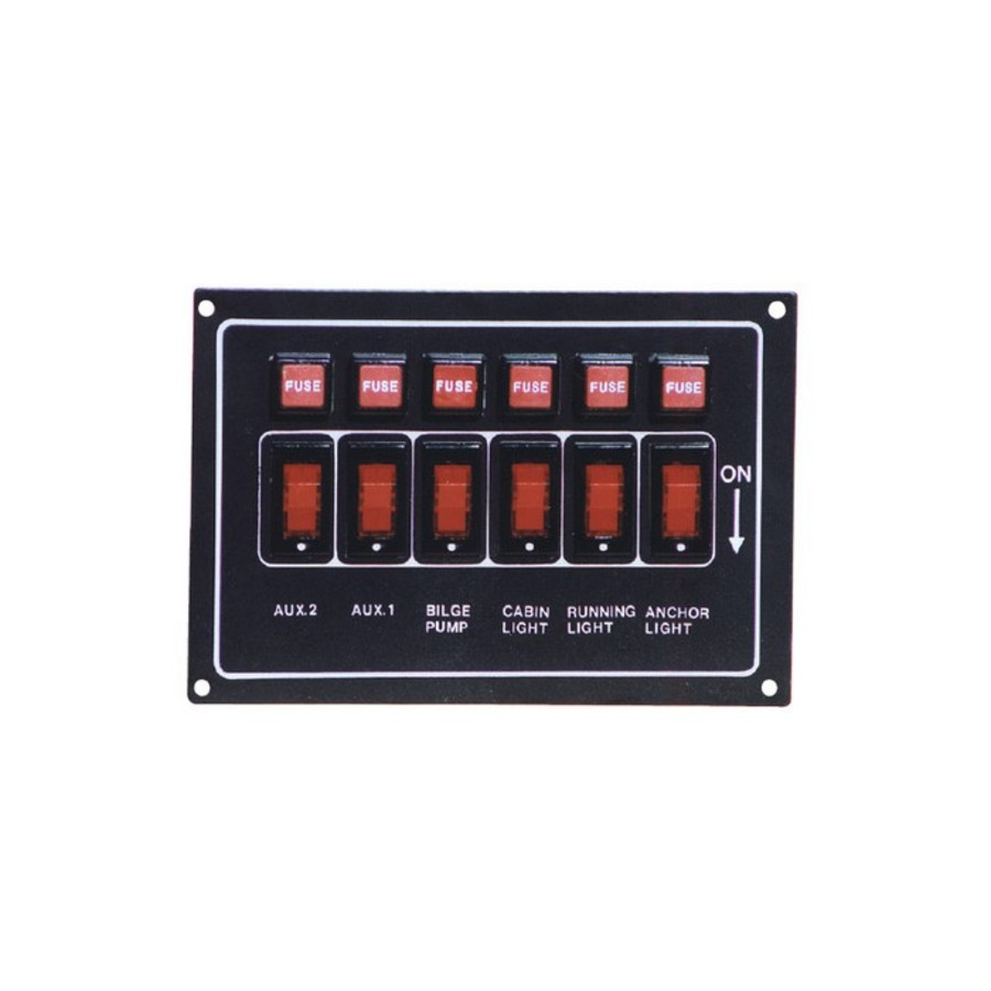 Horizontal Illuminated 6 Switch Panel