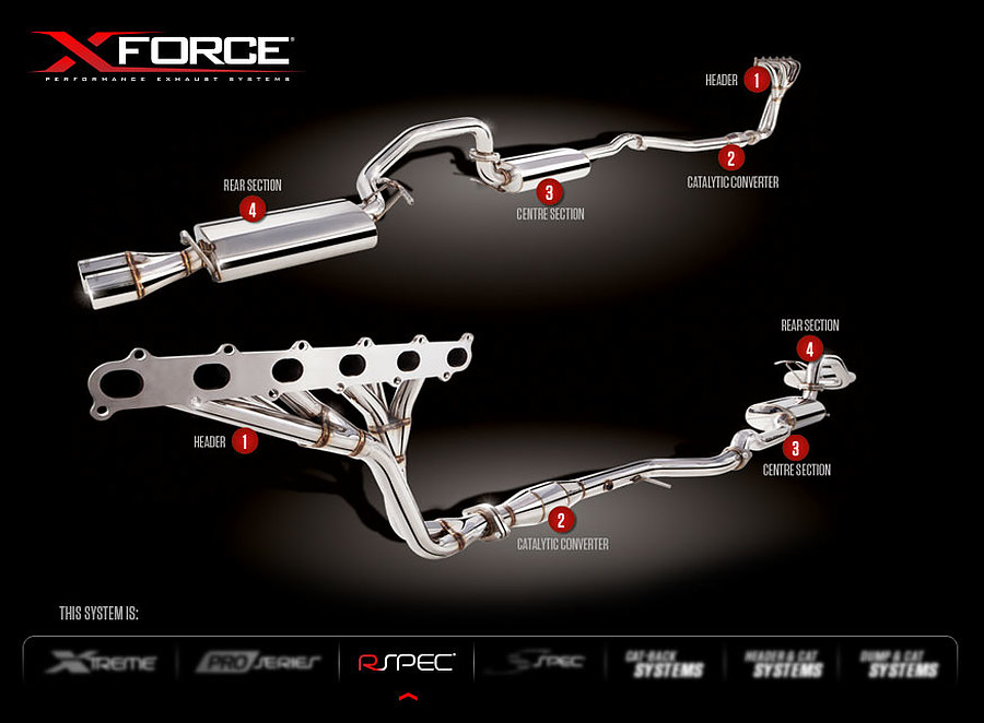 """XFORCE Ford Falcon FG XR6 Ute 2.5"""" Raw 409 Stainless Steel Cat-Back System (Factory flange point compatible may need 8mm bolts to cat) - Image 3"""
