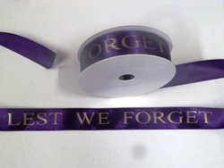 more on 25mm Printed Ribbon - LEST WE FORGET