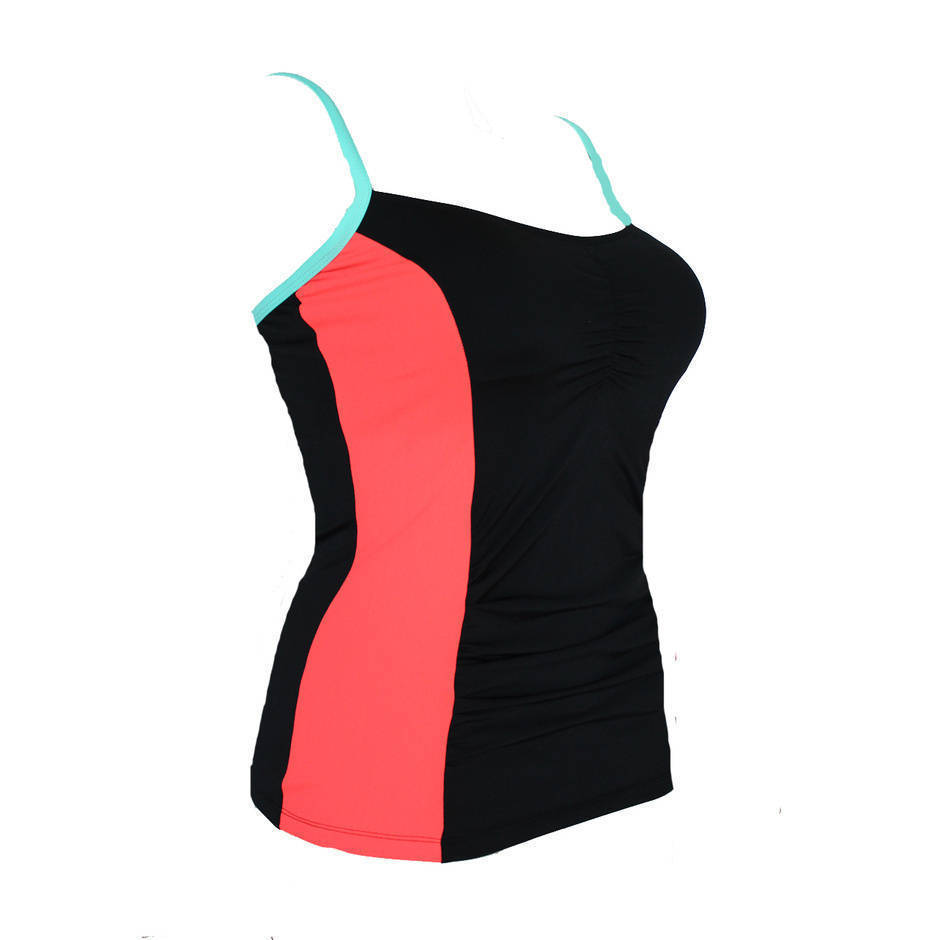 more on Panelled Tankini Top Coral-Mint CR Mastectomy