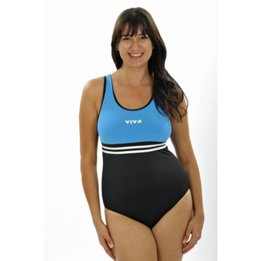 more on Viva One Piece - Black with Teal Bodice
