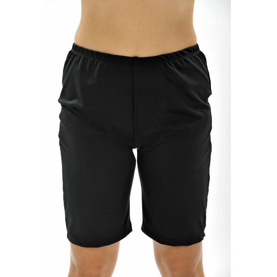 more on Long Swim Shorts - Black Chlorine Resist Plus Size