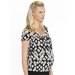 more on Angel Maternity Round Neck Work Top Black Cream Print 2172SH