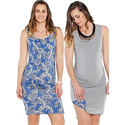 more on Angel Maternity Reversible Dress Grey And Blue Paisley Print 851K