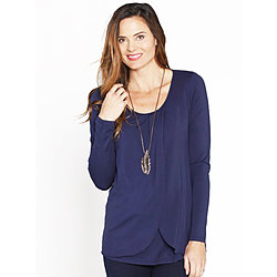 more on Angel Breastfeeding Petal Front Long Sleeve Nursing Top Navy N269LC