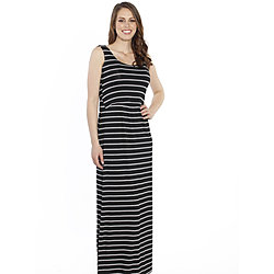more on Angel Breastfeeding Maxi Busy Mama Nursing Dress Thin Black White Stripe N99MG