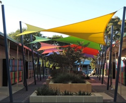 Colourful shade sails in school