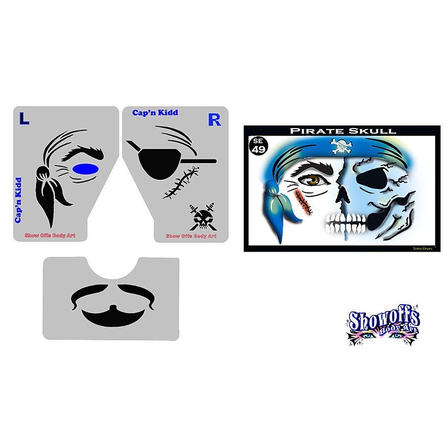 STENCIL EYES - Pirate Skull - Child Size 49SE - Image 1