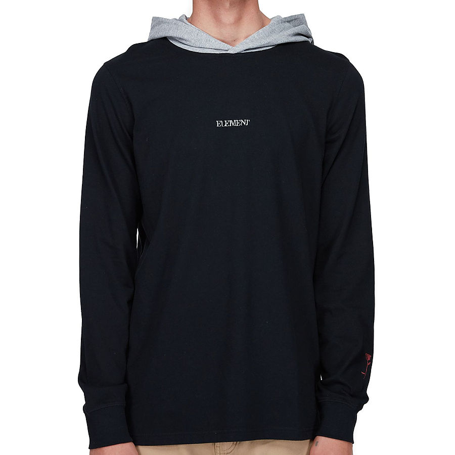 Element Sector LS Mens Hood Tee Flint Black