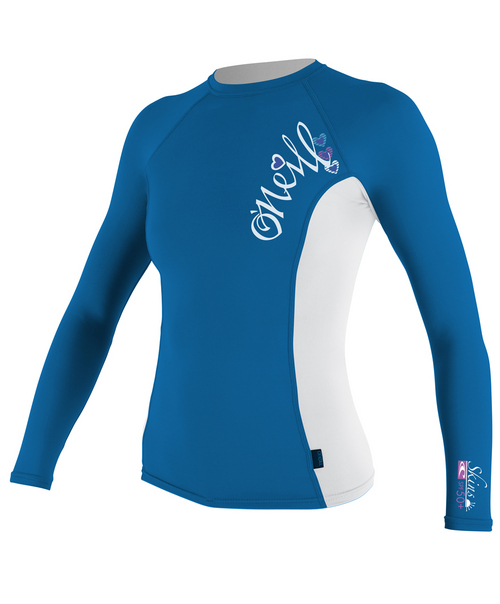 Oneill 6oz Basic Skins L/S Girls Crew Rash Vest