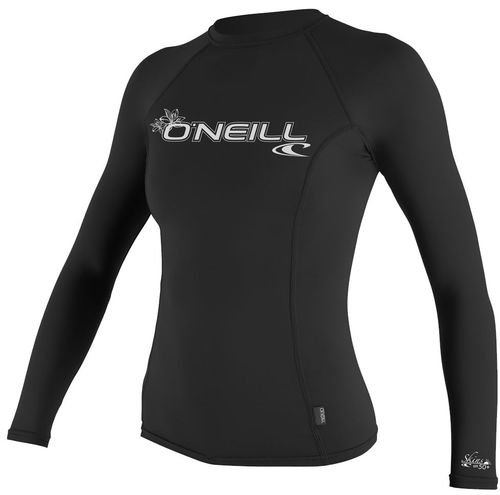 Oneill 6oz Basic Skins LS Ladies Crew Rash Vest Black