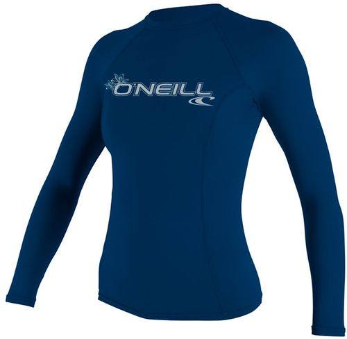 Oneill 6oz Basic Skins LS Ladies Crew Rash Vest Deep Sea