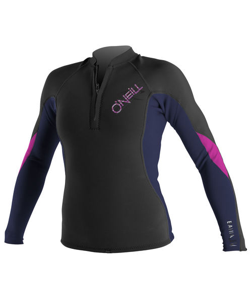 Oneill Womens Bahia LS Front Zip 1.0 mm Jacket Black Purple Pink