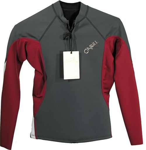 Oneill Womens Bahia LS Front Zip 1.0 mm Jacket Grey Maroon White