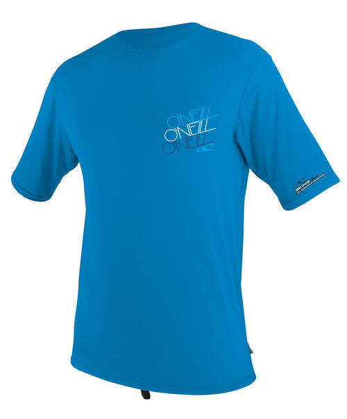 Oneill Mens 6oz Skins S/S Crew Graphic Rash Tee Brite Blue