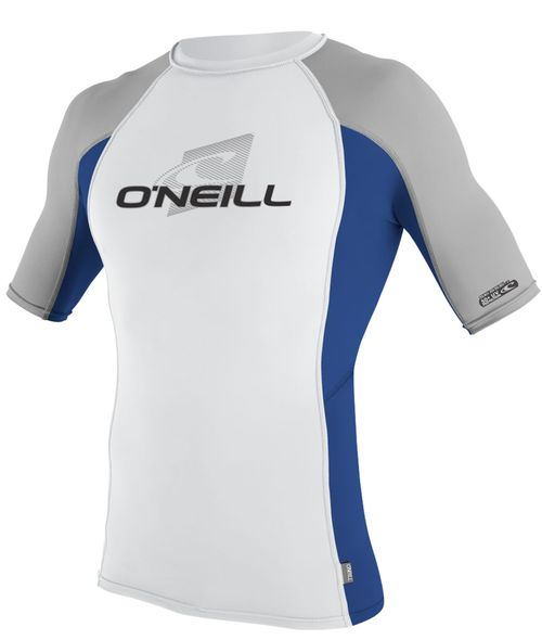 Oneill Mens 6oz Skins S S Crew Rash Vest White Pacific Flint