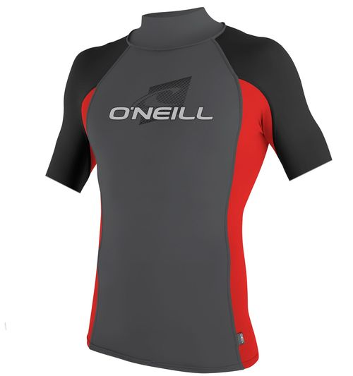 Oneill Mens 6oz Skins S S Crew Rash Vest Graphite Red Black - Image 1