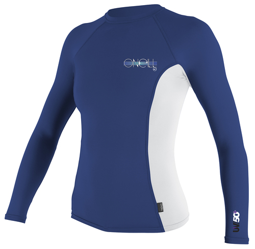 Oneill Skins Long Sleeved Ladies Crew Rashie Pacific White