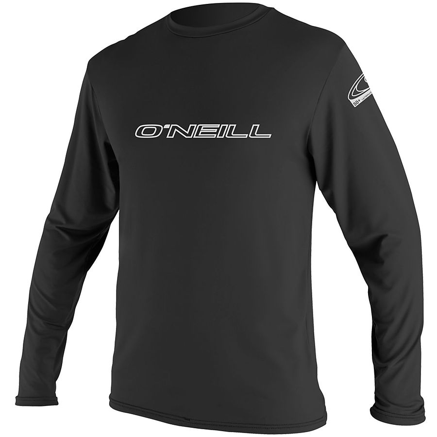 Oneill Mens Basic Skins LS Crew Rash Tee Black