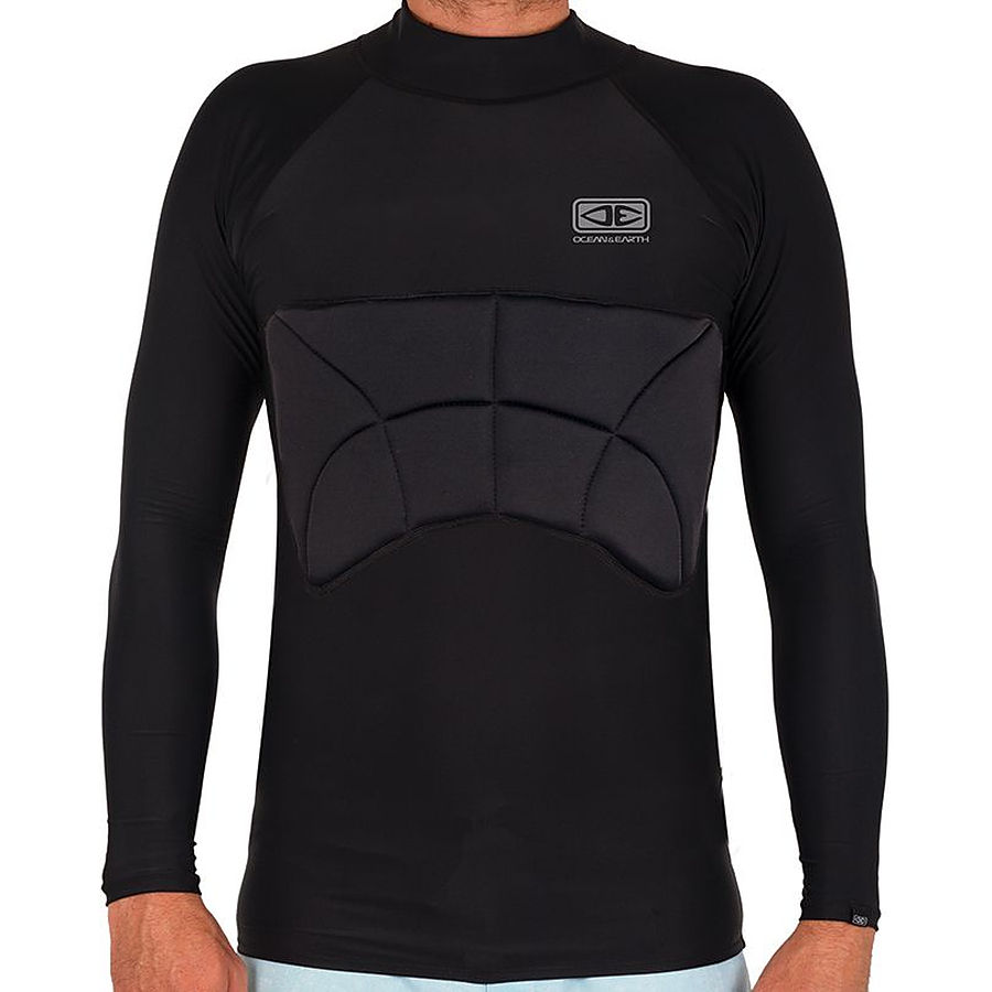 Ocean And Earth Mens Black Rib Guard Padded LS Rashie