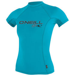 more on Oneill 6oz Basic Skins SS Ladies Crew Rash Vest Turquoise