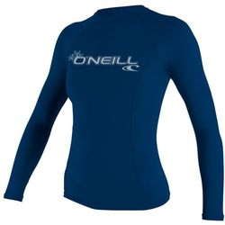 more on Oneill 6oz Basic Skins LS Ladies Crew Rash Vest Deep Sea