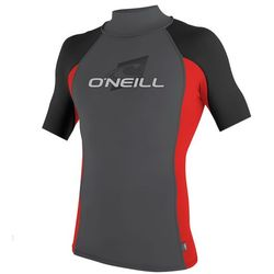 more on Oneill Mens 6oz Skins S S Crew Rash Vest Graphite Red Black