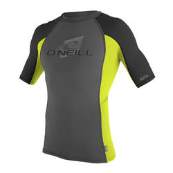 more on Oneill Mens 6oz Skins SS Crew Rash Vest Graphite Lime Black