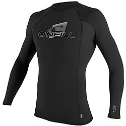 more on Oneill Mens 6oz Skins LS Crew Rash Vest Black
